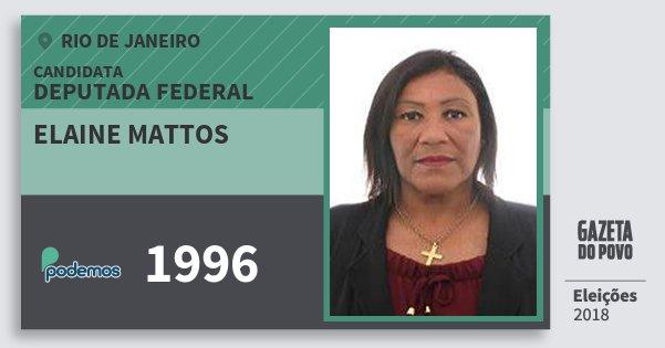 Santinho Elaine Mattos 1996 (PODE) Deputada Federal | Rio de Janeiro | Eleições 2018