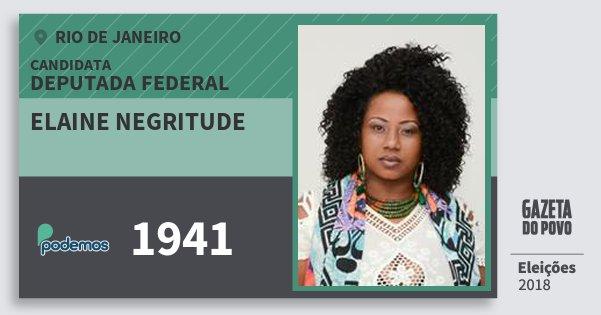Santinho Elaine Negritude 1941 (PODE) Deputada Federal | Rio de Janeiro | Eleições 2018