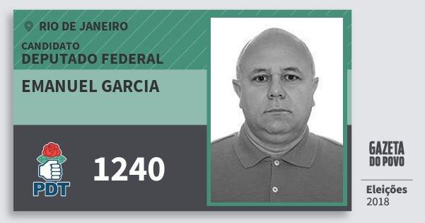 Santinho Emanuel Garcia 1240 (PDT) Deputado Federal | Rio de Janeiro | Eleições 2018