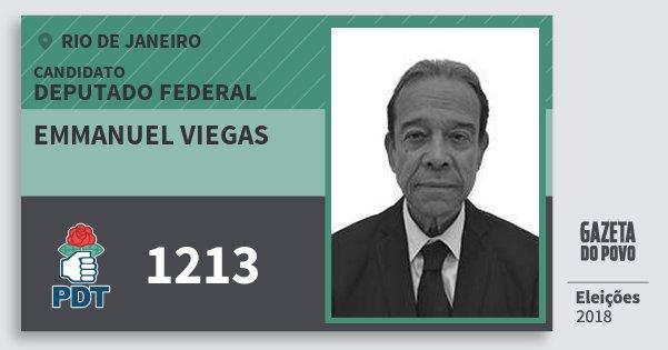 Santinho Emmanuel Viegas 1213 (PDT) Deputado Federal | Rio de Janeiro | Eleições 2018