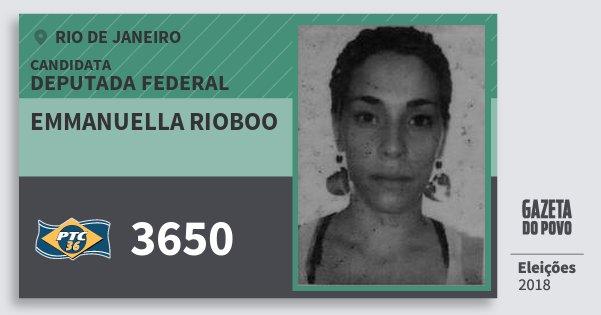 Santinho Emmanuella Rioboo 3650 (PTC) Deputada Federal | Rio de Janeiro | Eleições 2018
