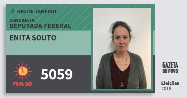 Santinho Enita Souto 5059 (PSOL) Deputada Federal | Rio de Janeiro | Eleições 2018