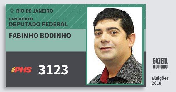 Santinho Fabinho Bodinho 3123 (PHS) Deputado Federal | Rio de Janeiro | Eleições 2018