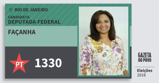Santinho Façanha 1330 (PT) Deputada Federal | Rio de Janeiro | Eleições 2018