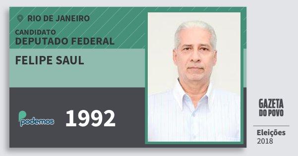 Santinho Felipe Saul 1992 (PODE) Deputado Federal   Rio de Janeiro   Eleições 2018