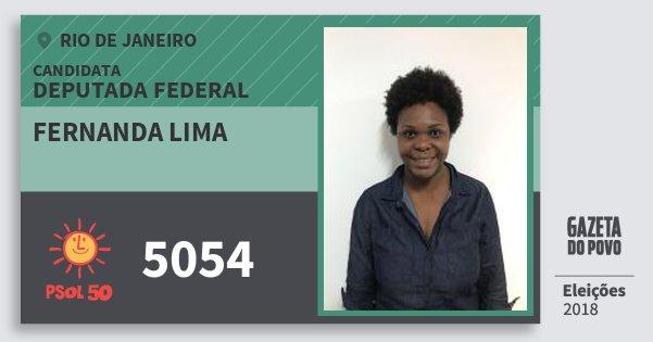 Santinho Fernanda Lima 5054 (PSOL) Deputada Federal | Rio de Janeiro | Eleições 2018