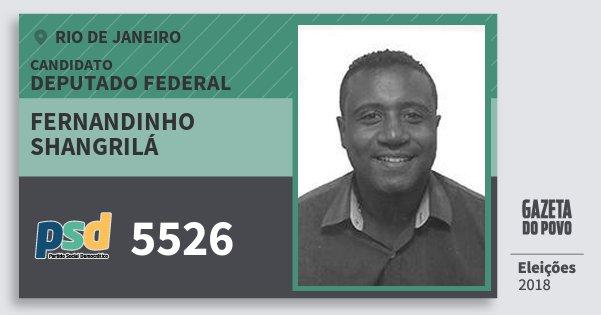 Santinho Fernandinho Shangrilá 5526 (PSD) Deputado Federal | Rio de Janeiro | Eleições 2018