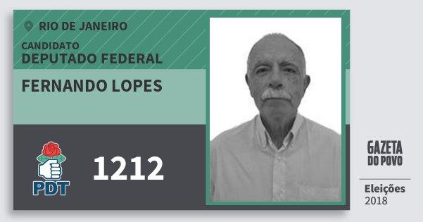Santinho Fernando Lopes 1212 (PDT) Deputado Federal | Rio de Janeiro | Eleições 2018