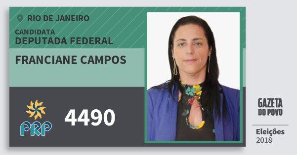 Santinho Franciane Campos 4490 (PRP) Deputada Federal | Rio de Janeiro | Eleições 2018