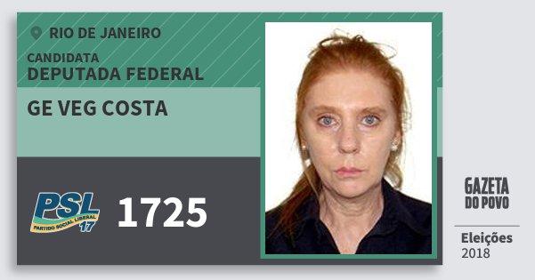 Santinho Ge Veg Costa 1725 (PSL) Deputada Federal | Rio de Janeiro | Eleições 2018