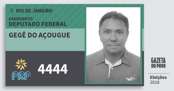 Santinho Gegê do Açougue 4444 (PRP) Deputado Federal | Rio de Janeiro | Eleições 2018
