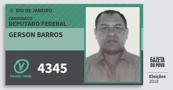 Santinho Gerson Barros 4345 (PV) Deputado Federal | Rio de Janeiro | Eleições 2018