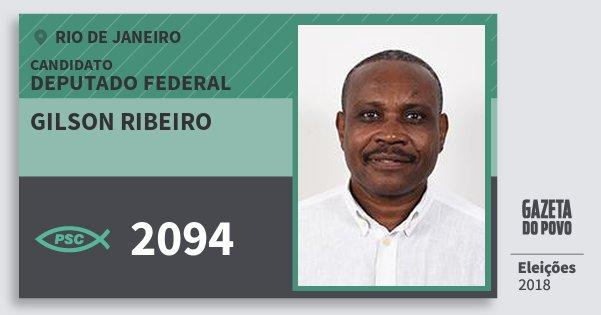 Santinho Gilson Ribeiro 2094 (PSC) Deputado Federal | Rio de Janeiro | Eleições 2018