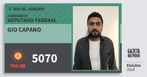 Santinho Gio Capano 5070 (PSOL) Deputado Federal | Rio de Janeiro | Eleições 2018
