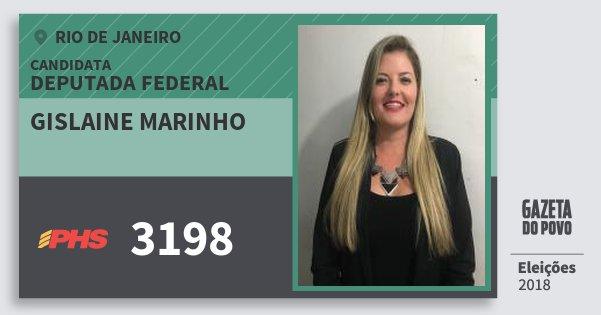 Santinho Gislaine Marinho 3198 (PHS) Deputada Federal   Rio de Janeiro   Eleições 2018
