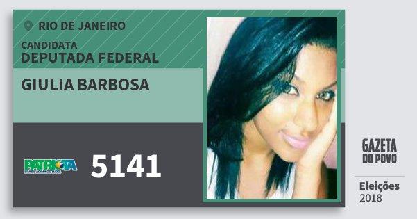 Santinho Giulia Barbosa 5141 (PATRI) Deputada Federal | Rio de Janeiro | Eleições 2018