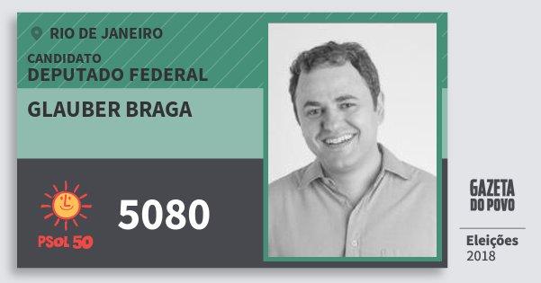 Santinho Glauber Braga 5080 (PSOL) Deputado Federal | Rio de Janeiro | Eleições 2018