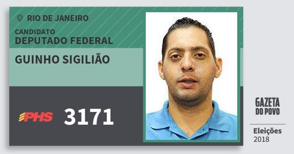 Santinho Guinho Sigilião 3171 (PHS) Deputado Federal | Rio de Janeiro | Eleições 2018