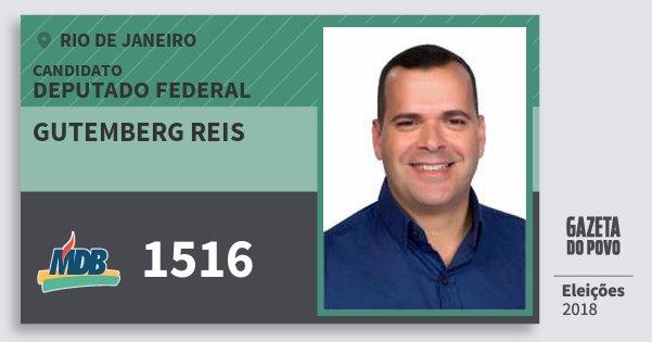 Santinho Gutemberg Reis 1516 (MDB) Deputado Federal | Rio de Janeiro | Eleições 2018