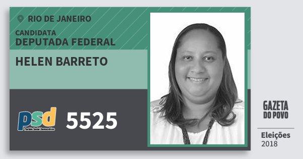 Santinho Helen Barreto 5525 (PSD) Deputada Federal | Rio de Janeiro | Eleições 2018