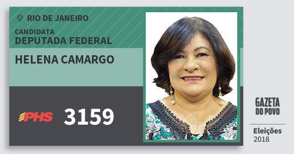 Santinho Helena Camargo 3159 (PHS) Deputada Federal   Rio de Janeiro   Eleições 2018