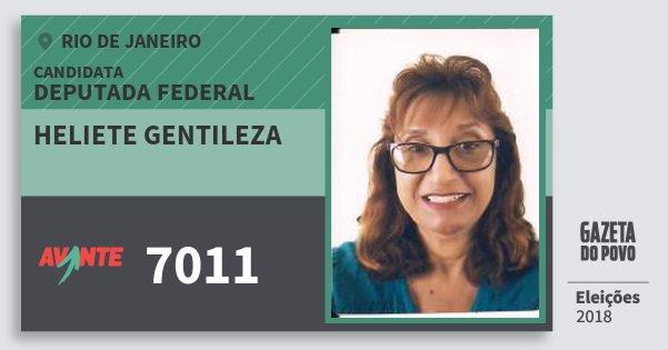 Santinho Heliete Gentileza 7011 (AVANTE) Deputada Federal | Rio de Janeiro | Eleições 2018