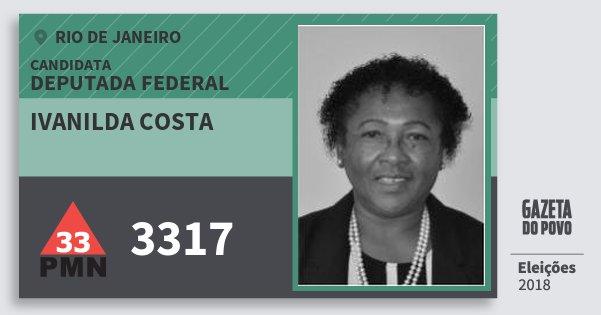 Santinho Ivanilda Costa 3317 (PMN) Deputada Federal | Rio de Janeiro | Eleições 2018
