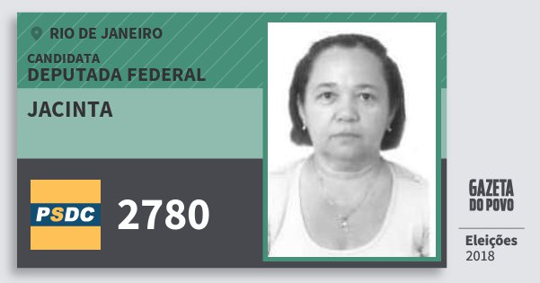 Santinho Jacinta 2780 (DC) Deputada Federal | Rio de Janeiro | Eleições 2018