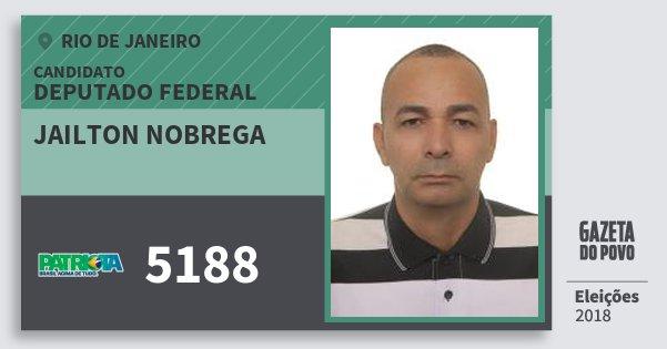 Santinho Jailton Nobrega 5188 (PATRI) Deputado Federal | Rio de Janeiro | Eleições 2018