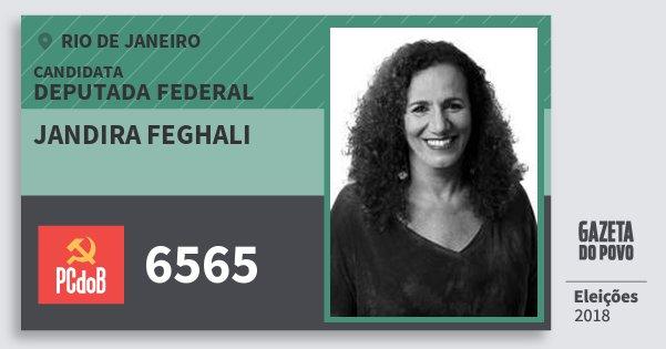 Santinho Jandira Feghali 6565 (PC do B) Deputada Federal | Rio de Janeiro | Eleições 2018