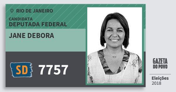 Santinho Jane Debora 7757 (SOLIDARIEDADE) Deputada Federal | Rio de Janeiro | Eleições 2018