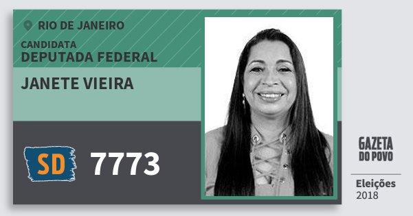 Santinho Janete Vieira 7773 (SOLIDARIEDADE) Deputada Federal | Rio de Janeiro | Eleições 2018