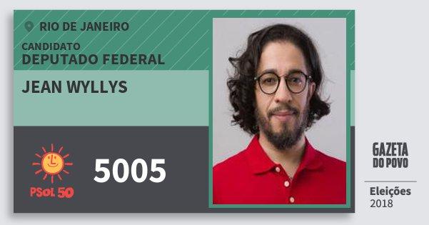 Santinho Jean Wyllys 5005 (PSOL) Deputado Federal | Rio de Janeiro | Eleições 2018