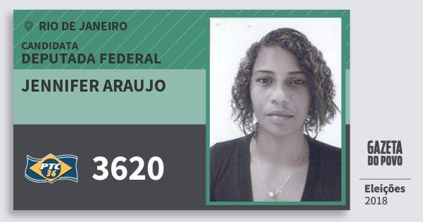 Santinho Jennifer Araujo 3620 (PTC) Deputada Federal | Rio de Janeiro | Eleições 2018