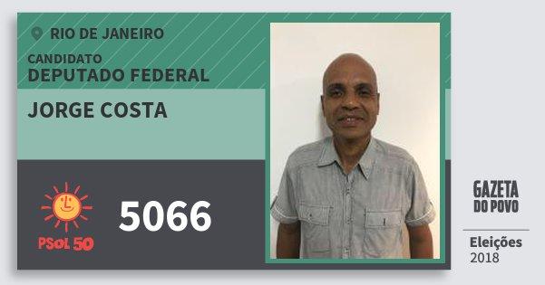 Santinho Jorge Costa 5066 (PSOL) Deputado Federal | Rio de Janeiro | Eleições 2018