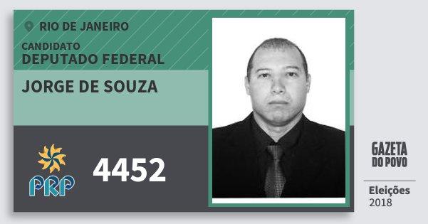 Santinho Jorge de Souza 4452 (PRP) Deputado Federal | Rio de Janeiro | Eleições 2018