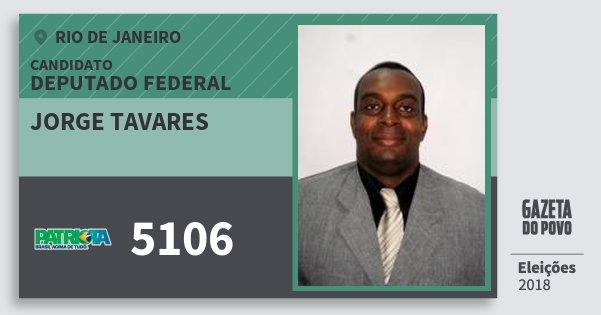 Santinho Jorge Tavares 5106 (PATRI) Deputado Federal | Rio de Janeiro | Eleições 2018