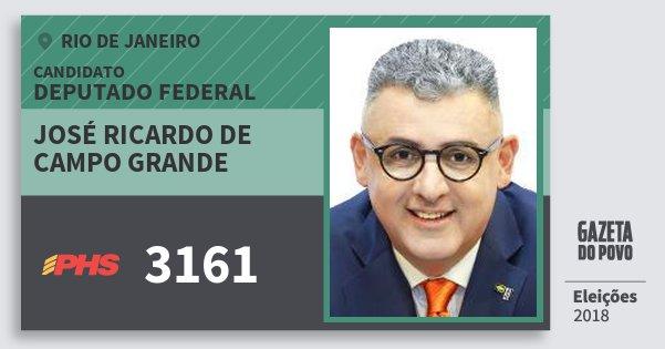 Santinho José Ricardo de Campo Grande 3161 (PHS) Deputado Federal | Rio de Janeiro | Eleições 2018