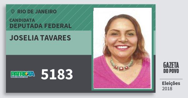 Santinho Joselia Tavares 5183 (PATRI) Deputada Federal | Rio de Janeiro | Eleições 2018