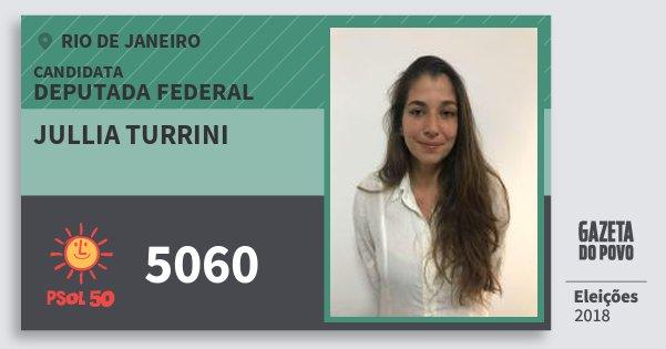 Santinho Jullia Turrini 5060 (PSOL) Deputada Federal | Rio de Janeiro | Eleições 2018