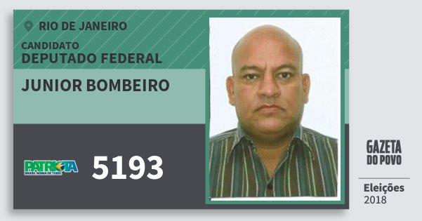 Santinho Junior Bombeiro 5193 (PATRI) Deputado Federal | Rio de Janeiro | Eleições 2018