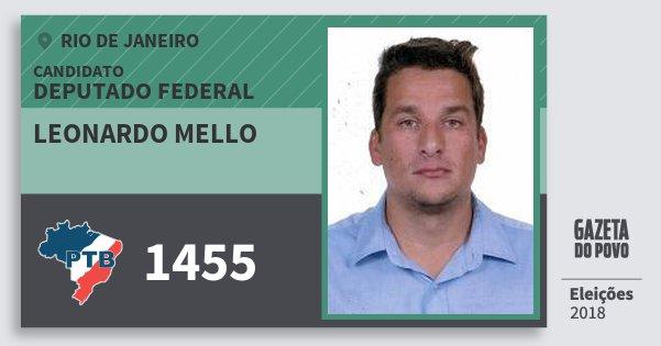 Santinho Leonardo Mello 1455 (PTB) Deputado Federal | Rio de Janeiro | Eleições 2018