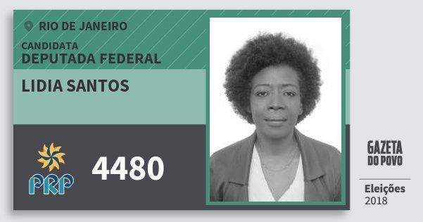 Santinho Lidia Santos 4480 (PRP) Deputada Federal | Rio de Janeiro | Eleições 2018