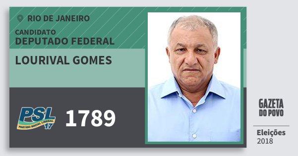 Santinho Lourival Gomes 1789 (PSL) Deputado Federal | Rio de Janeiro | Eleições 2018