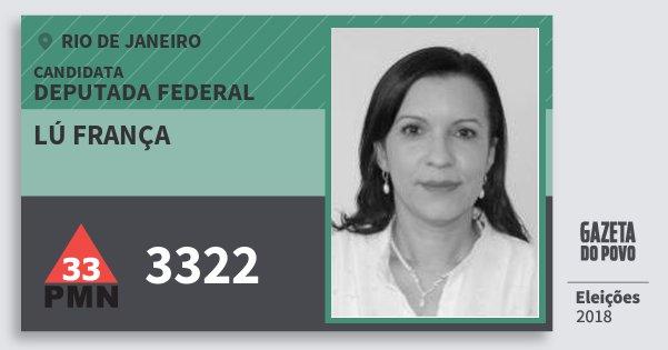 Santinho Lú França 3322 (PMN) Deputada Federal | Rio de Janeiro | Eleições 2018