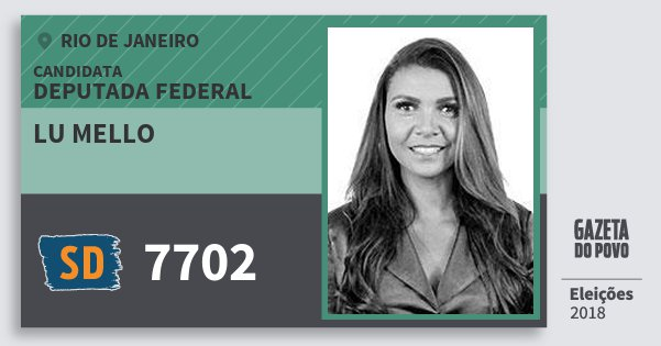 Santinho Lu Mello 7702 (SOLIDARIEDADE) Deputada Federal   Rio de Janeiro   Eleições 2018