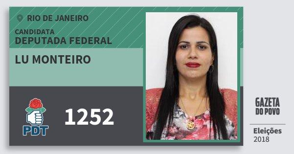 Santinho Lu Monteiro 1252 (PDT) Deputada Federal | Rio de Janeiro | Eleições 2018