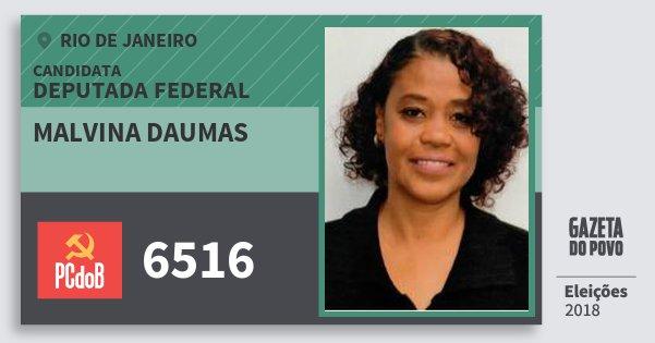 Santinho Malvina Daumas 6516 (PC do B) Deputada Federal | Rio de Janeiro | Eleições 2018