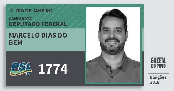 Santinho Marcelo Dias do Bem 1774 (PSL) Deputado Federal | Rio de Janeiro | Eleições 2018