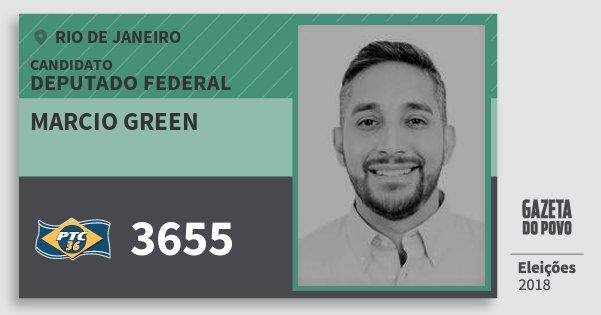 Santinho Marcio Green 3655 (PTC) Deputado Federal | Rio de Janeiro | Eleições 2018